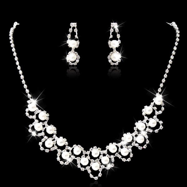 Bridal Crystal Pearl Necklace Earrings Jewelry Set Silver Plated