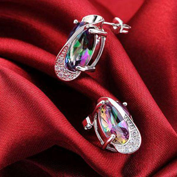 18K Platinum Plated Zircon Gemstone Oval Shape Jewelry Set