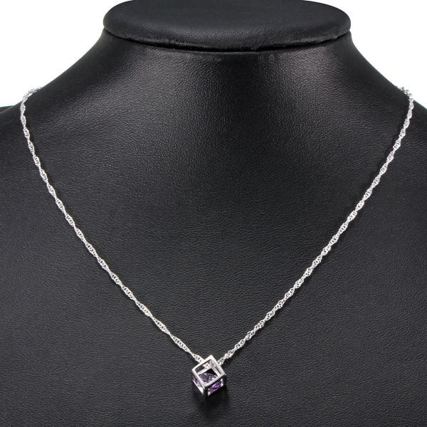 Silver Plated Geometric Crystal Square Necklace Pendant DIY Jewelry