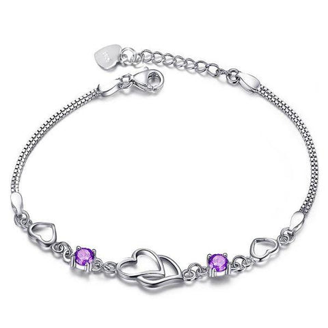 Austrian Crystal Zircon Double Heart Bracelet For Women