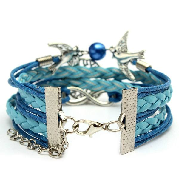Multilayer Life of Tree Infinity Bird Leather Bracelet Vintage