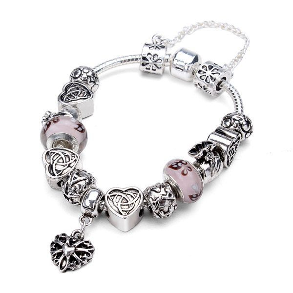 Antique Silver Heart Letter Crystal Glass Beads Charm Bracelet