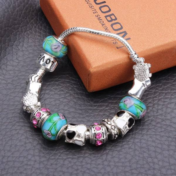 Antique Silver Love Letters Flower Crystal Glass Beads Bracelet