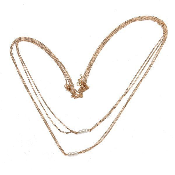 Sexy Double Layers Gold Pearl Cross Bikini Body Chain Necklace Women
