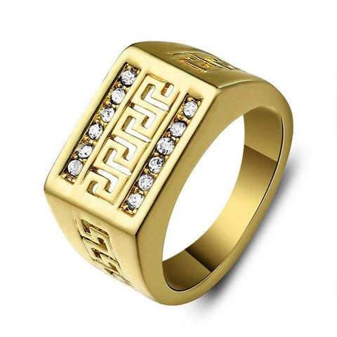 Vintage Gold Plated Hollow Great Wall Cubic Rhinestone Men Ring