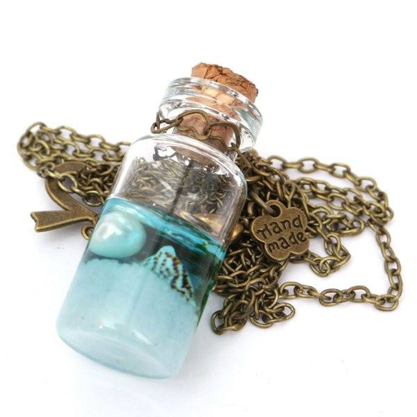 Ocean Sea Current Bottle Starfish Shell Glass Cover Pendant Necklace