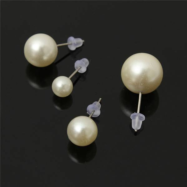 12 Pairs Mixed Size White Pearl Stud Earrings Women Jewelry