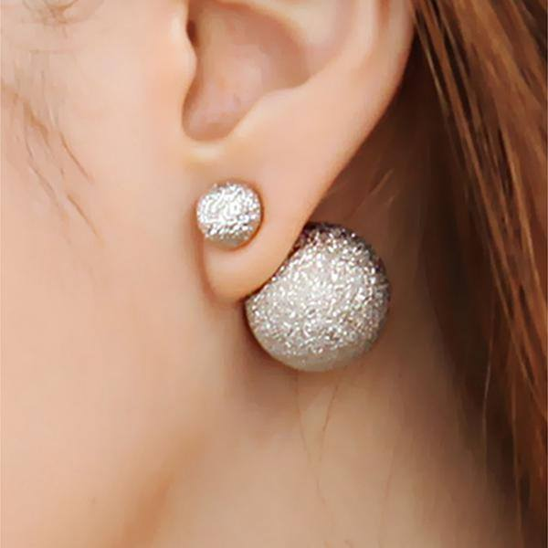 Double Sides Matte Wrinkle Round Ball Stud Earrings For Women