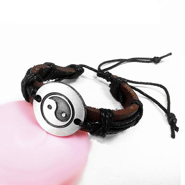 Unisex Brown Tai Chi Leather Bracelet Alloy Charm Rope Bracelet