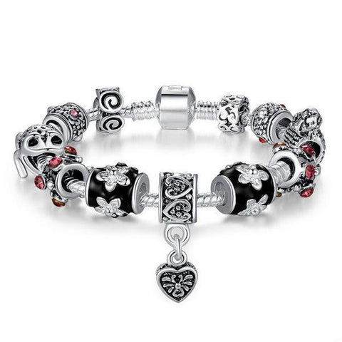 925 Silver Plated Tibetan Murano Glass Beads Crystal Heart Bracelet