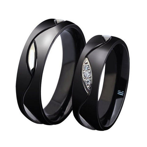 Elegant Titanium Steel Crystal Black Couple Finger Ring For Women Men