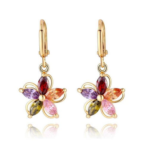 Gold Plated Colorful Zircon Crystal Flower Earrings Ear Studs For Women