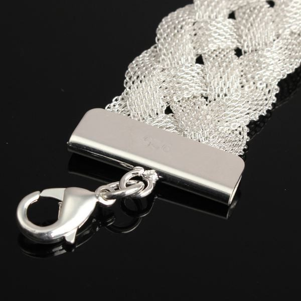 Silver Plated Braid Mesh Charm Chain Bracelet For Women
