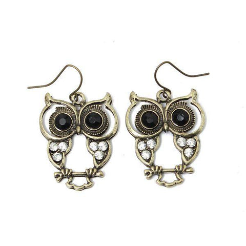 Vintage Black Eyes Rhinestone Owl Drop Earrings For Women