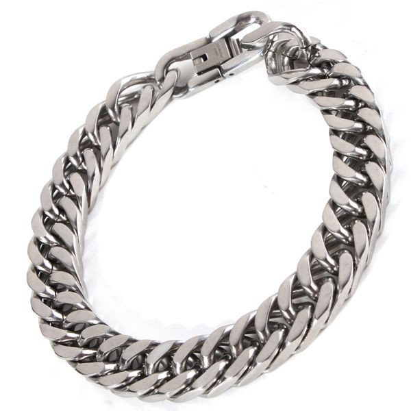 Classical Silver Tone 316L Stainless Steel Link Chain Bracelet For Men