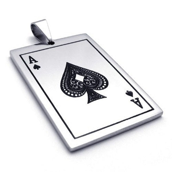 Stainless Steel Playing Cards Spades A Poker Necklace Pendant Men