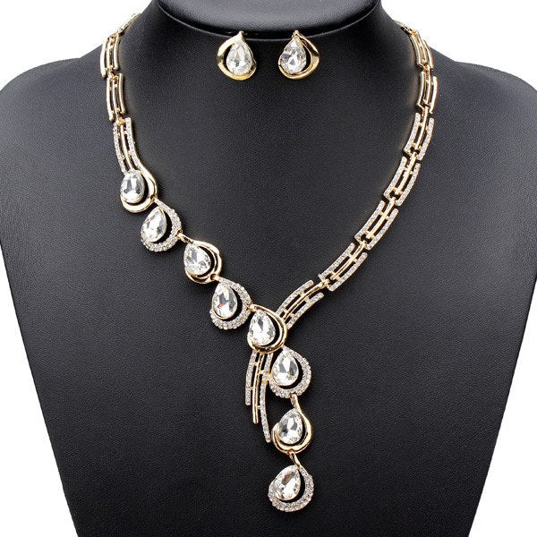 Alloy Water Drop Rhinestone Necklace Earrings Engagement Jewelry Set