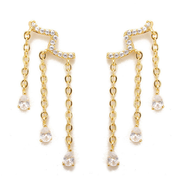 Water Drop Crystal Tassel Drop Earrings