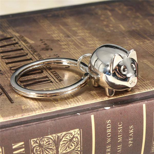 Lovely Silver Pig Charm Key Chain Animal Alloy Key Ring