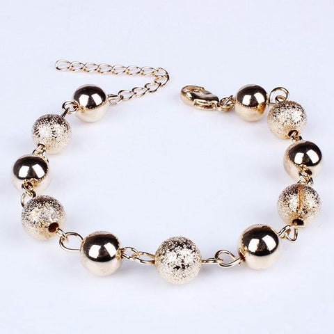 Charm Gold Plated Metal Matte Ball Beads Bracelet Women Jewelry