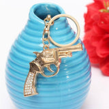 Creative Gold Crystal Gun Shaped Pendant Keychain Key Ring Gift
