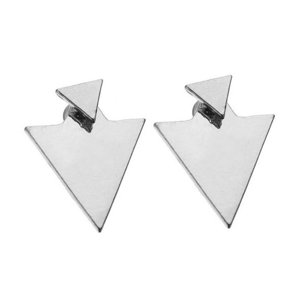 Gold & Silver Triangle Stud Earrings