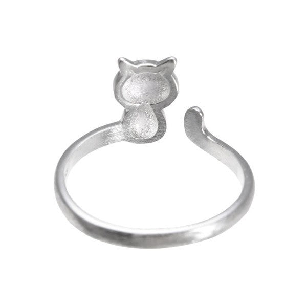 925 Sterling Silver Lovely Cat Adjustable Finger Ring Women Jewelry