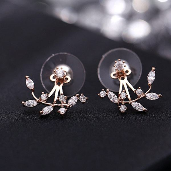 925 Silver Needle Leaves Cubic Zircon Crystal Stud Earrings For Women