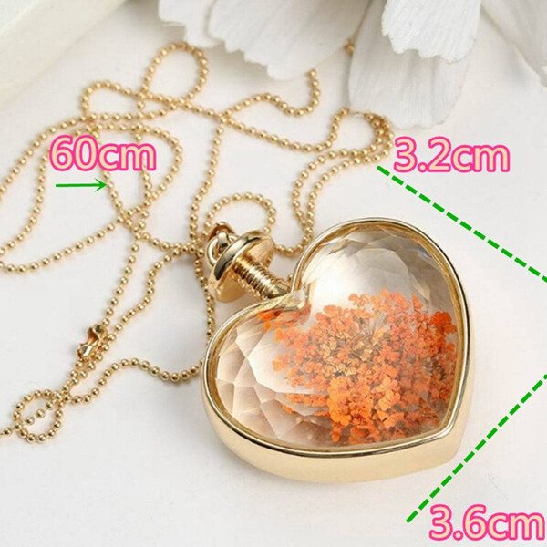 Glass Bottle Heart Flower Necklace
