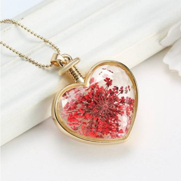 Gold Plated Glass Bottle Heart Dry Flower Pendant Necklace For Women