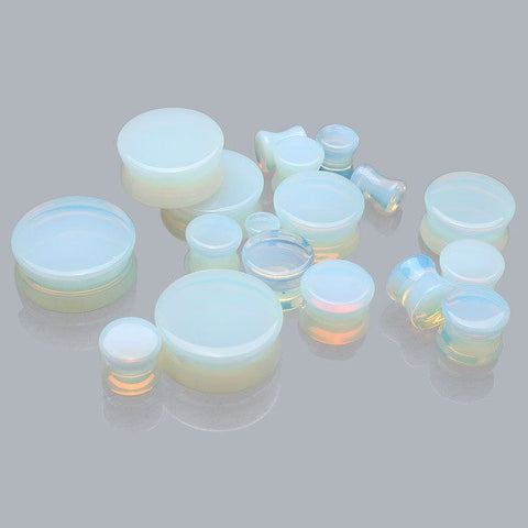 5mm-25mm 1 Pair Opal Flesh Tunnels Ear Gauges Plugs Stretching Expander