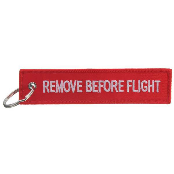 Remove Before Flight Keyring Luggage Tag Zipper Pull Woven Keychain