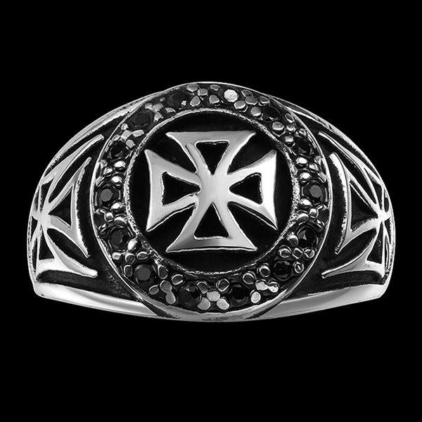 Vintage Cool Stainless Steel Zircon Cross Band Ring Men Jewelry
