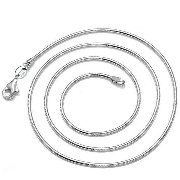 1mm 16-24 inch 925 Silver Plated Snake Chain Necklace For Women
