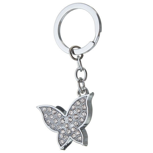 Silver Crystal Metal Butterfly Pendant Key Ring Keychain