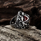 Retro 316L Stainless Steel Red Zircon Cross Ruby Finger Ring For Men
