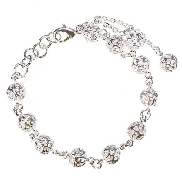 Silver Color Hollow Balls Pendant Bracelet For Women