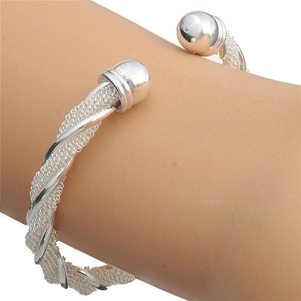 925 Silver Plated Twisted Wire Mesh Cuff Bracelet Bangle Women Jewelry