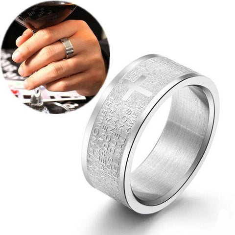 Silver Stainless Steel Bible Cross Finger Rings For Men