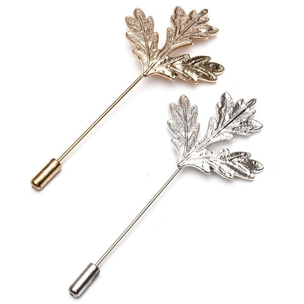 Unisex Vintage Gold Silver Maple Leaf Brooch Pin
