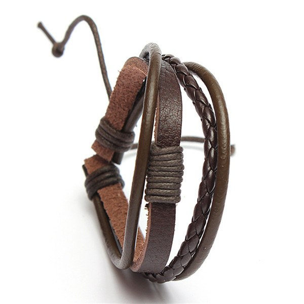 Men 4 Rounds Woven Surf Leather Bracelet Wristband