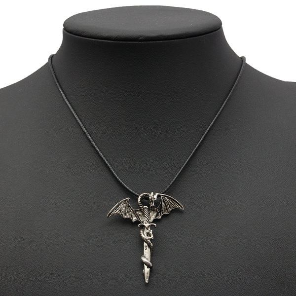 Steampunk Stainless Steel Flying Dragon Sword Chain Necklace