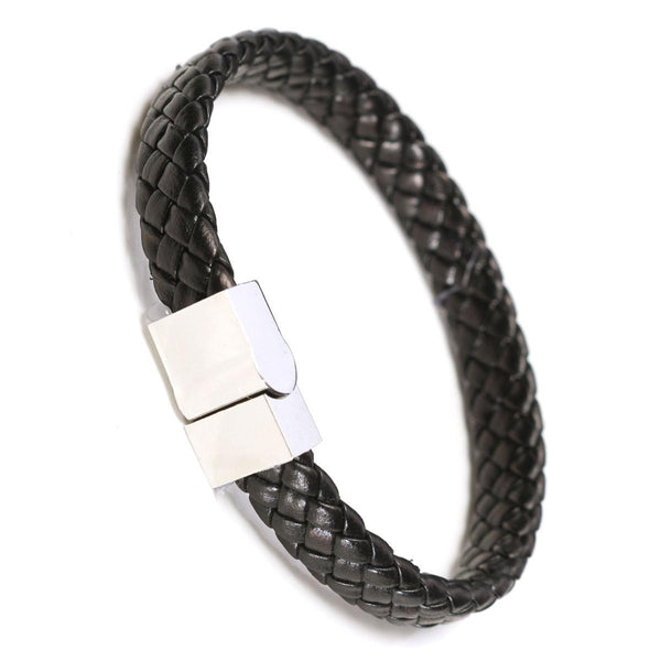 PU Leather Men Braided Magnet Wrist Strap Clasp Bracelet