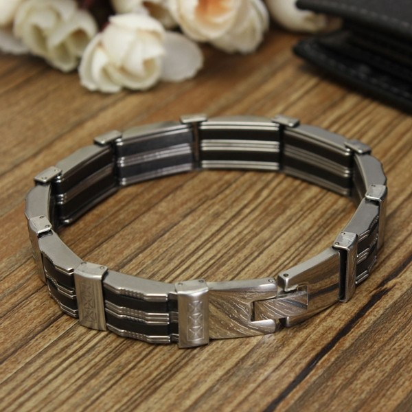 Black Silicone Silver Stainless Steel Chain Wristband Bracelet For Men