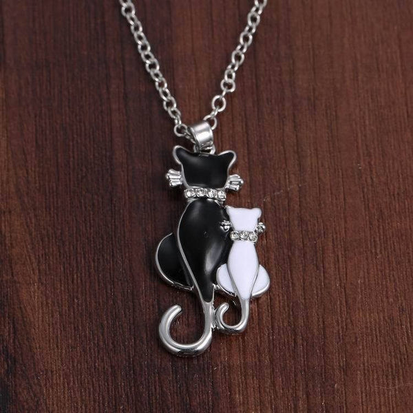 Couple Lovely Cats Lovers Chain Jewelry Women Necklace Ornament Gift