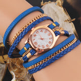 Casual Women Woven Wrap Strap PU Leather Band Bracelet Watch