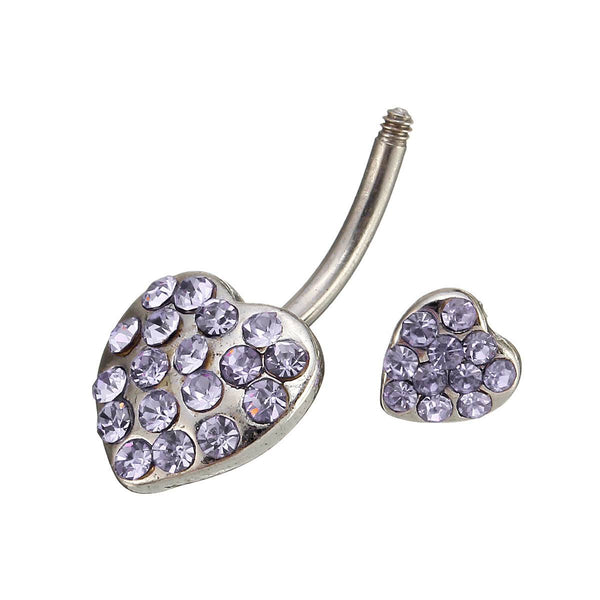 Heart Crystal Sexy Belly Navel Bar Ring Piercing Body Jewelry