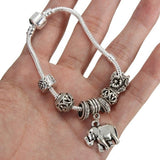 Vintage Silver Beads Elephant Pendant Bangle Bracelet For Women