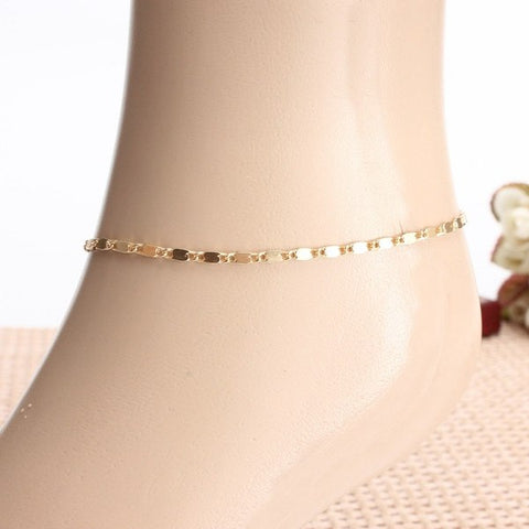 Gold Simple Style Alloy Anklet Foot Chain Women Jewelry Adjustable