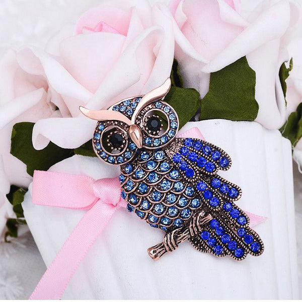 Elegant Owl Inlay Crystal Rhinestone Alloy Brooch Pin For Women